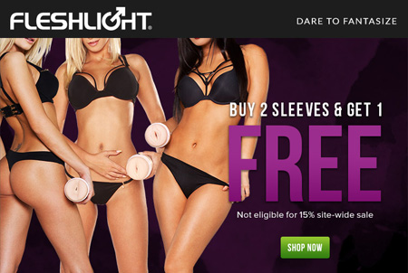 Buy 2 Fleshlight sleeves, get one free!