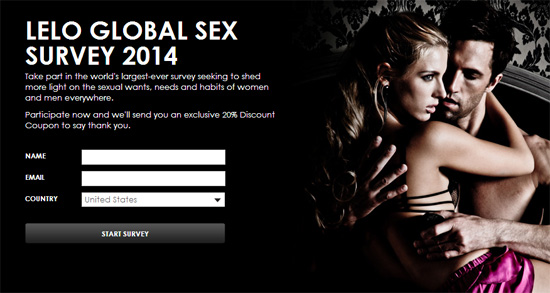 Take LELO's global sex survey 2014 and get 20% off