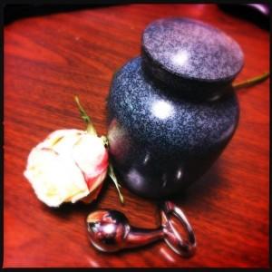 A rose. An urn. A Pure Plug.