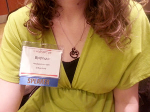 Right before the opening keynote, being girly.