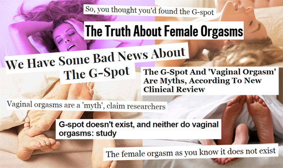 Scare-tactic G-spot headlines complete with stock photos of women and feet