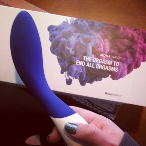 "LELO Mona Wave rechargeable G-spot vibrator and packaging which reads ""THE ORGASM TO END ALL ORGASMS"""