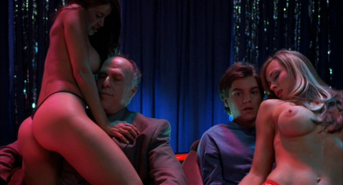 Matthew (Emile Hirsch) getting a lap dance next to his dad's friend, Peterson, in The Girl Next Door