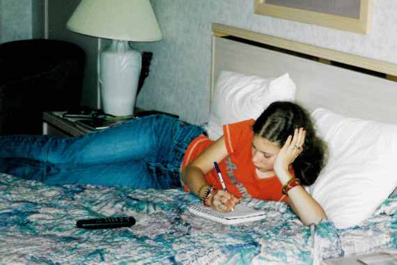 Writing in a motel on a family trip to the beach in 2002
