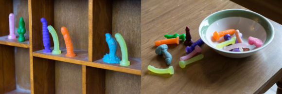 Tiny dildo mock-up photos, before dusting my shelf, obviously