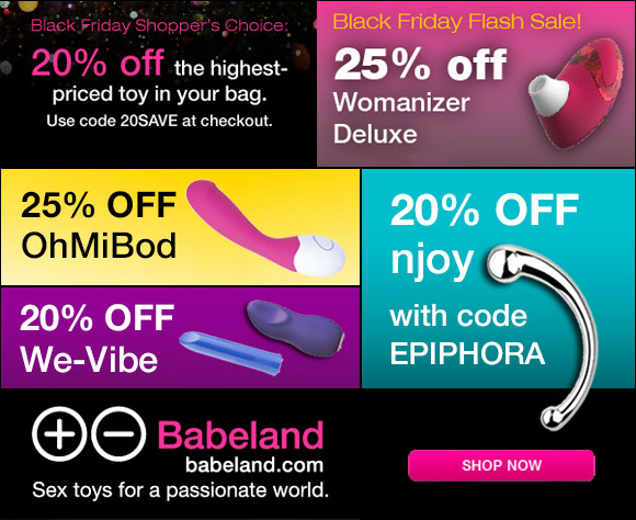 All kinds of savings at Babeland for Black Friday!