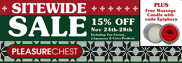 15% off everything at Pleasure Chest, plus a free massage candle with code EPIPHORA!