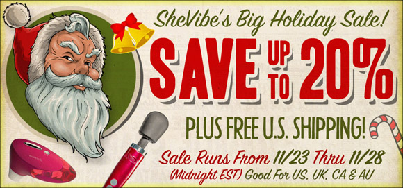 Save up to 20% in SheVibe's sale, plus free shipping and much more!
