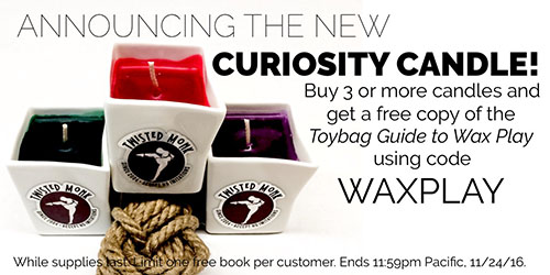 Buy 3 or more candles and get a free copy of the Toybag Guide to Wax Play!