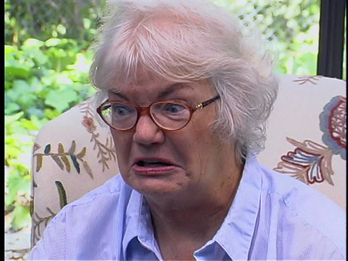 Columnist Molly Ivins looking enraged