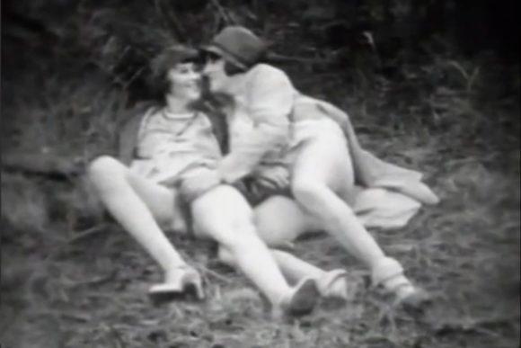 1920s ladies frolicking outdoors.