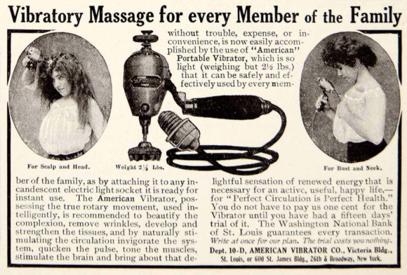 """Vintage vibrator ad from 1906 proclaiming """"vibratory massage for every member of the family."""""""