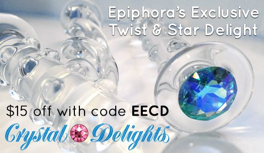 $15 off Epiphora's Exclusive Twist or Star Delight glass dildos at Crystal Delights